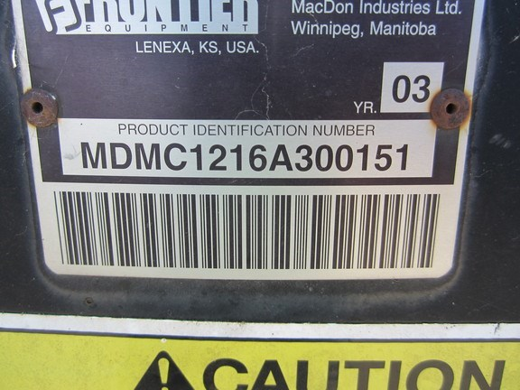 2003 Frontier MC1216 Mower Conditioner For Sale