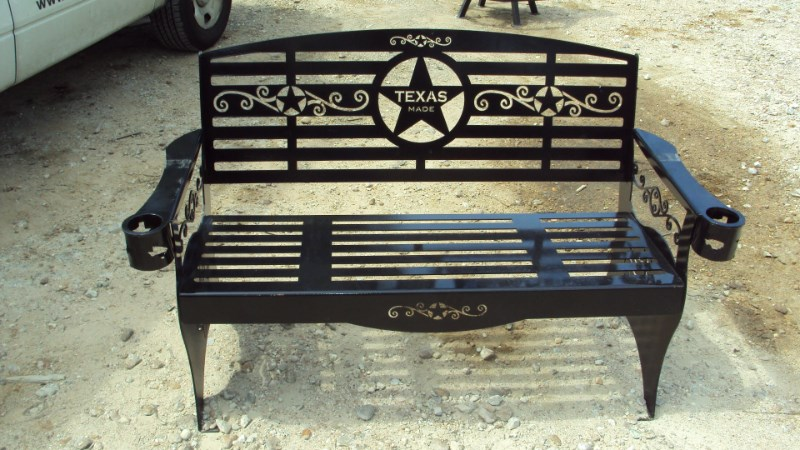 Other Heavy duty metal outdoor bench w/ Texas theme Misc. Sport/Utility For Sale