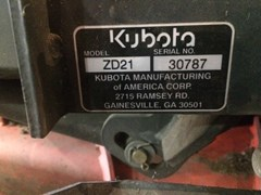 Riding Mower For Sale:  2002 Kubota ZD21