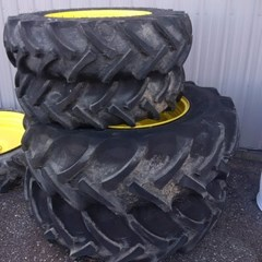 Attachments For Sale John Deere Fronts are 12.4-24. Wheel and tire Rears are 18.4-