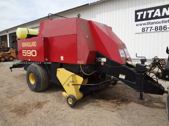 1998 New Holland 590, 3X3 Bales, 4 Double Tie, Knotter Cleaner Baler-Big Square For Sale