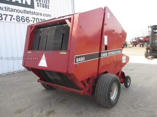 1992 Case IH 8480, Round 4X4, 540 PTO,Elec Dbl Wrap, Tensioner  Baler For Sale