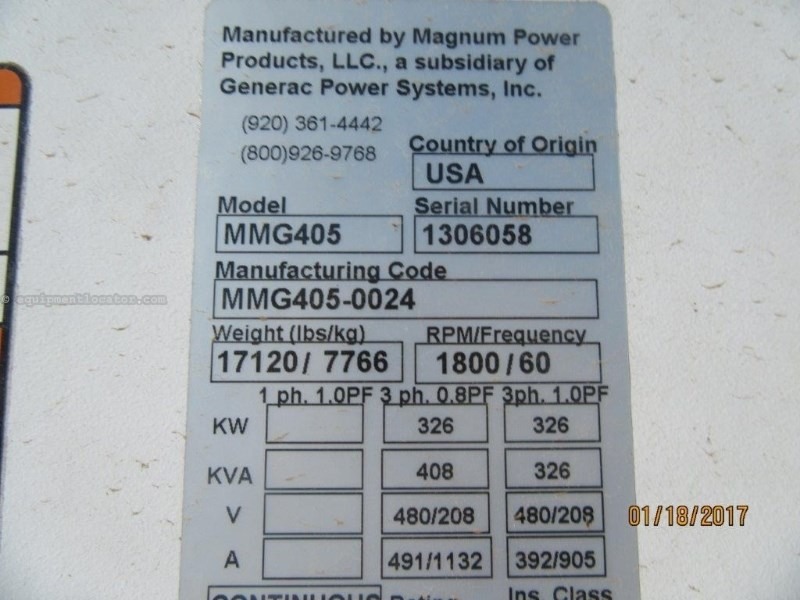 2013 Magnum MMG405, 3190 Hr,  358 KW Rating, 489 HP Generator Trailer For Sale