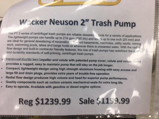 "2011 Wacker PT2A, Self-Priming, 2"" Capacity, Honda Engine  Pump For Sale"