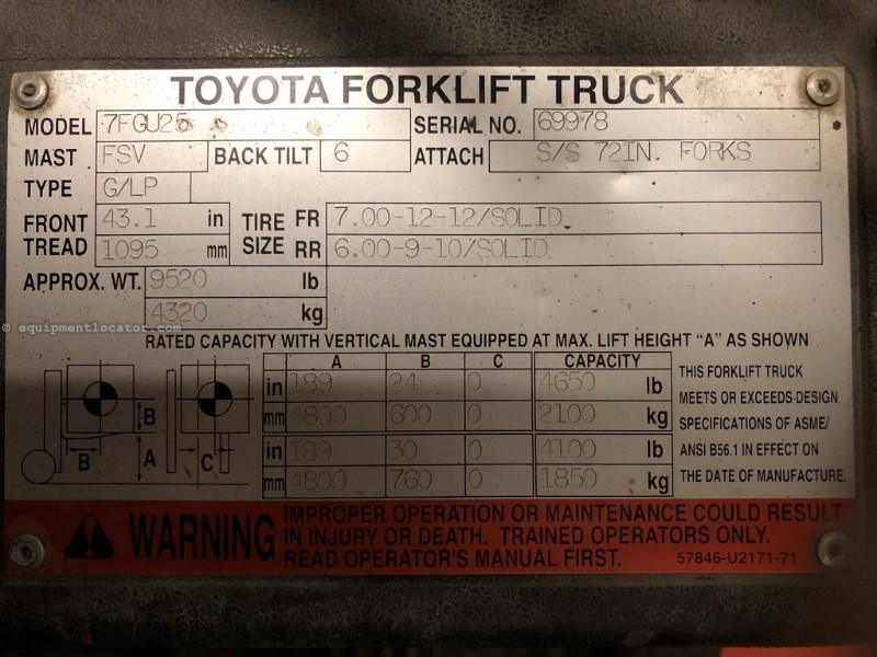 "Toyota 7FGU25, 3800 Hrs, 4650 Lift Capacity, 72"" Forks Lift Truck/Fork Lift-Industrial For Sale"