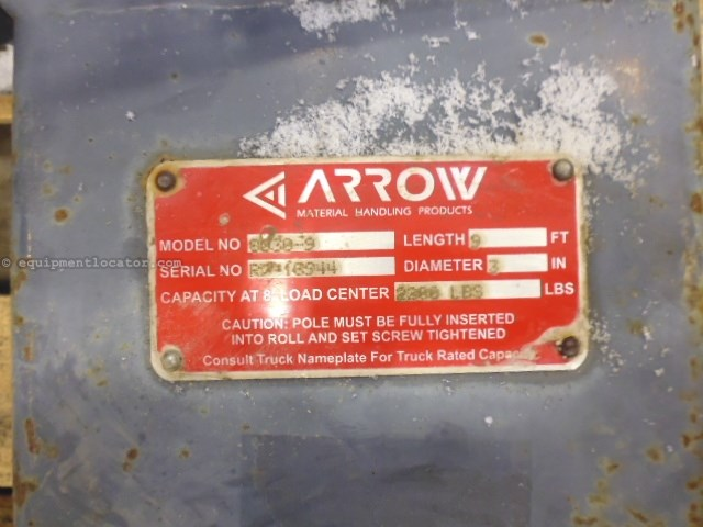 """2015 Arrow 8030-9, 9' Carpet Pole, 3"""" Diam, 2200lb Capacity Forklift Attachment For Sale"""
