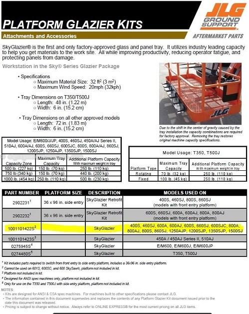 """2016 JLG SKYGLAZIER KIT, Designed for 72""""Side Entry Forklift Attachment For Sale"""
