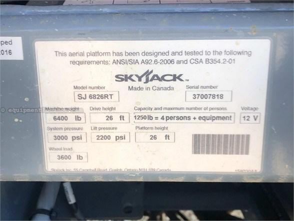 2016 Skyjack SJ6826RT Misc. Ag For Sale