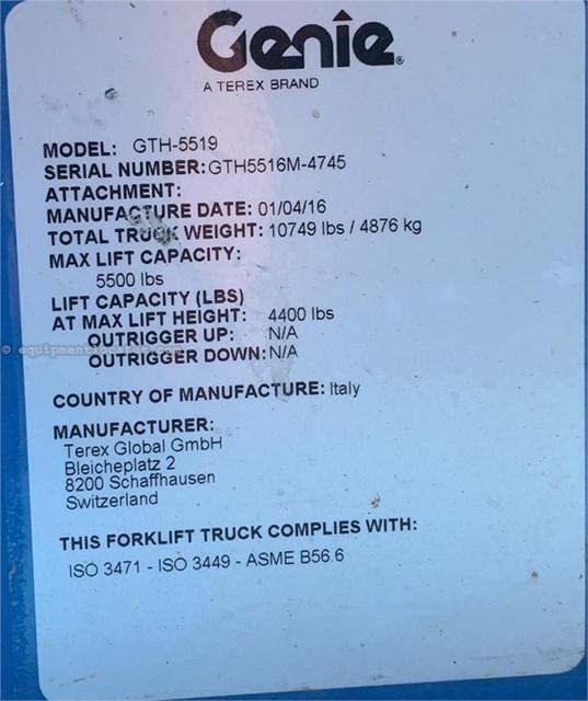 2016 Genie GTH5519 Telehandler For Sale